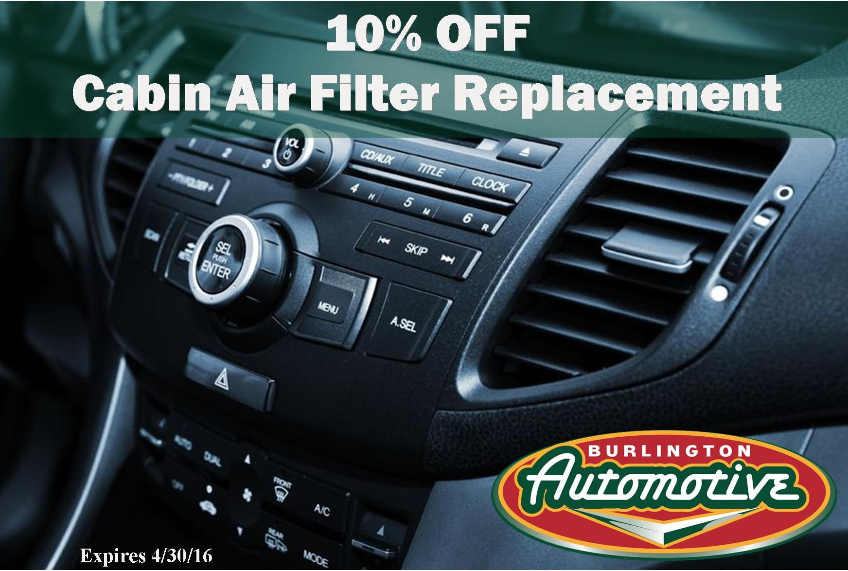 April Special 10 Off Cabin Air Filter Replacement